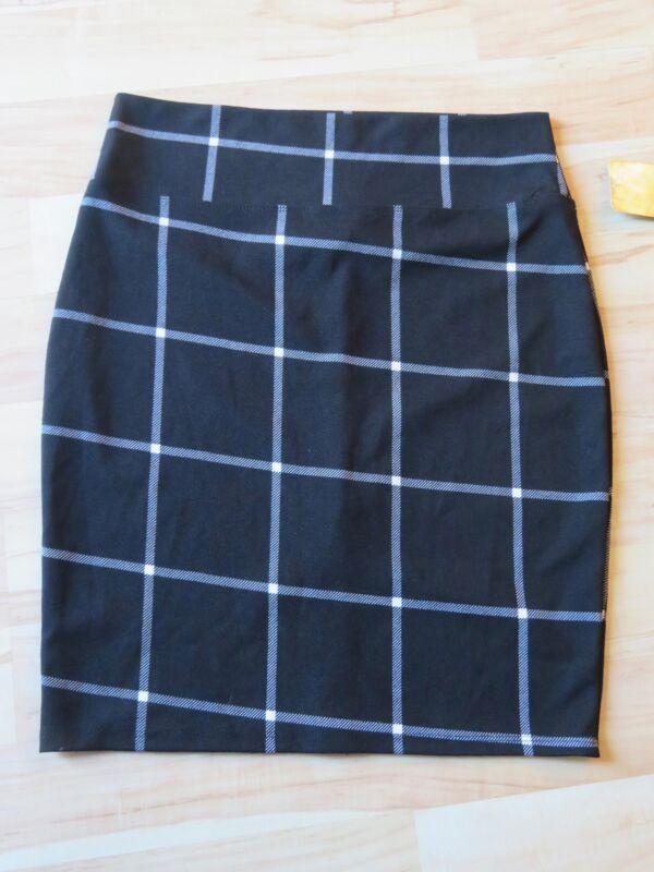 f56f4506384ed New Women s Hybrid   Company Stretch Black White Plaid Pencil Skirt Plus  Size 1X