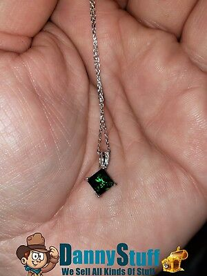 New 925 Sterling Silver Princess Cut Created Emerald Pendant Necklace 18 Inches ()