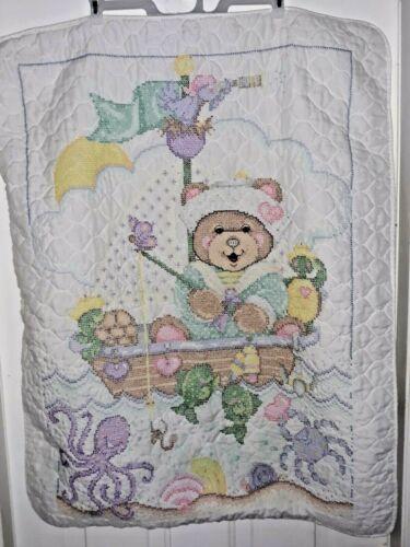 "Cross Stitch Baby Nursery Quilt Blanket Handmade 40"" x 30"" Fishing Bear Coverlet"