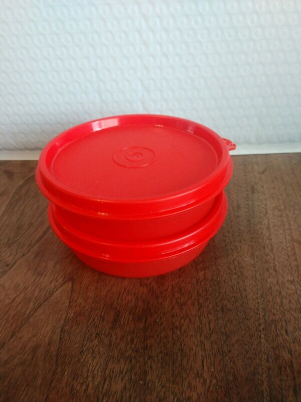 New TUPPERWARE Little Wonders Bowls SET OF 2 Red SNACKS 3/4 Cup FREE US SHIP