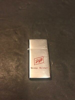 Vintage Schlitz Beer Flip Top Silver Lighter Barlow Miniature Weldon Reichert