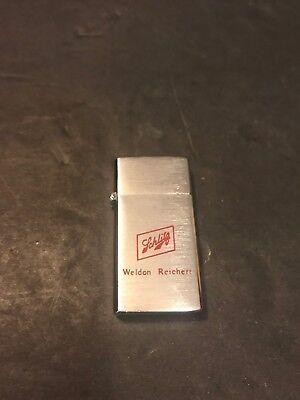 Vintage Schlitz Beer Flip Top Silver Lighter Barlow Miniature Weldon Reichert
