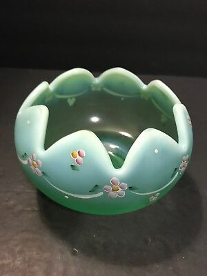 Vintage Frosted Green Glass Fenton Hand Painted Art Glass Bowl S Wayda