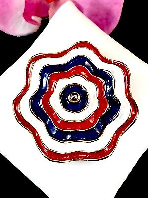 Rüschen Rosette (Außergewöhnlicher Goldton Rot Weiß Blau Emaille Patriotische Rüschen Rosette)