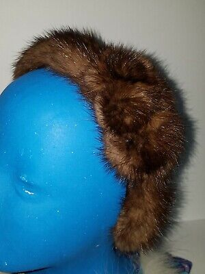 Real Brown Mink Fur Headband With Rosettes