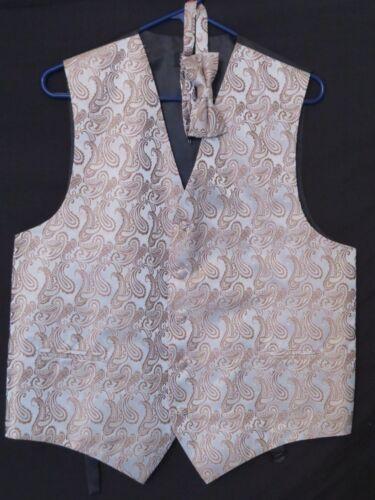 Brand Q Mens Formal Prom Wedding Tuxedo Vest /& Bow-Tie Set in Gold