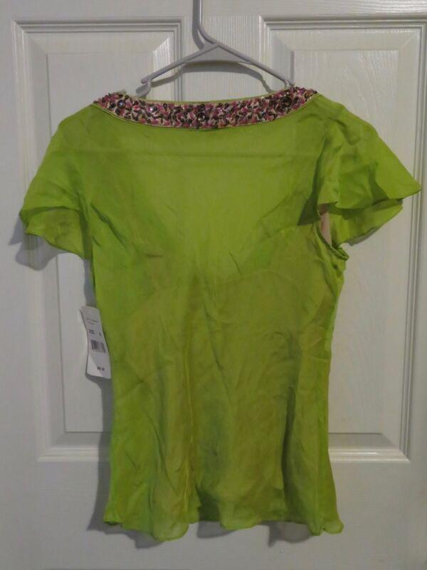 dfe96e6382375 New Women s ECI new York Lime Green Silk Blouse Cap Sleeve Beaded V ...