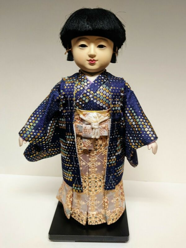 Vintage Japanese Ichimatsu Boy Doll on Wood Stand 16.5""