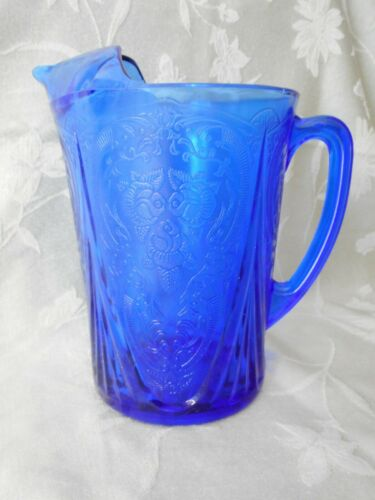 Hazel Atlas Royal Lace Cobalt Blue 48 oz Pitcher Ice Lip