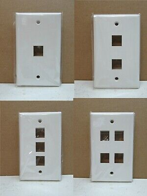 (10-Pack) 1 2 3 4 Port Data Ethernet Internet Jack CAT5 E CAT6 Wall Plate White 1 Port Wall Plate