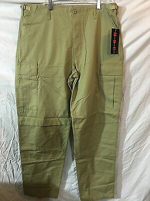 Military Outdoor Clothing M.O.C. Khaki BDU Rip Stop Mens Cargo Pants Small Reg