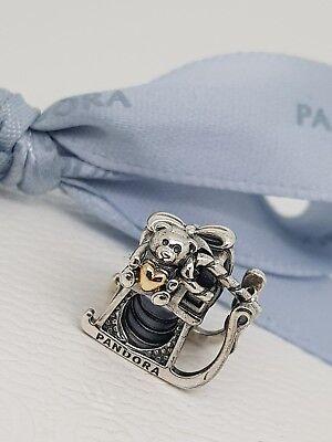 Authentic Pandora Silver 14k Gold Two Tone Santa's Sleigh Christmas Charm -