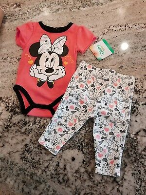 NEW Baby Girls 2pc Outfit 0-3 mon Pink  Minnie Mouse bodysuit Pants Set](Minnie Mouse Outfit Baby)