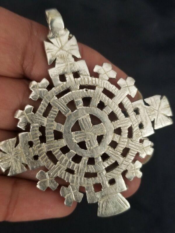 Ethiopian Orthodox Coptic Christian Cross Pendant Handmade Jewelry Silver