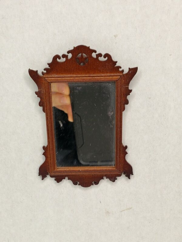 Vintage Ornate WALL MIRROR Dollhouse Miniature 1:12 Chippendale Reproduction