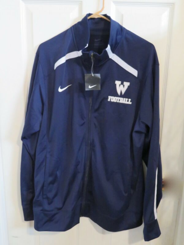 """5d930e2a65 New Men s Nike Track Jacket """"W"""" Football Wolverines Navy Blue   White Size  Large"""