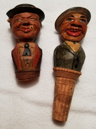 ARNI Vintage Carved HOBO Wood Whiskey Wine Bottle Cork Stopper
