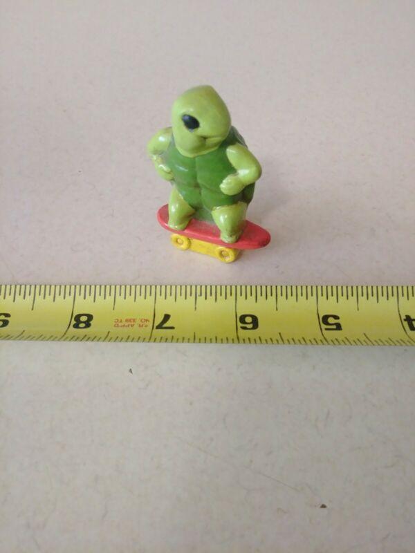 Vintage Turtle Riding Skateboard Figurine