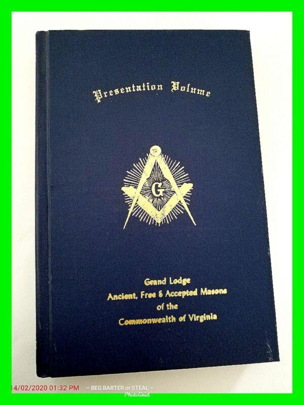 Grand Lodge Ancient Free & Accepted Masons Old Presentation Volume Virginia HTF