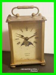 Unique VTG West Germany Benchmark Brass Mantel Desk Clock Moon Lunar Phase WORKS