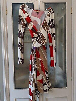 Issa Designer Silk Patterned Wrap Dress Brown Red Creme M (UK 12)
