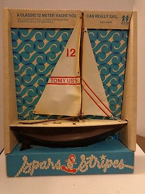 Vtg Tomy Toys Undying 12 Meter Yacht Spars & Stripes Toy Lake Boat NIP Sailboat