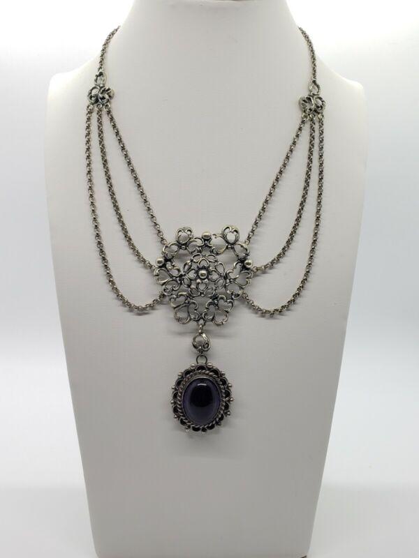 Antique Victorian Sterling Silver Swag Festoon Girandole Necklace