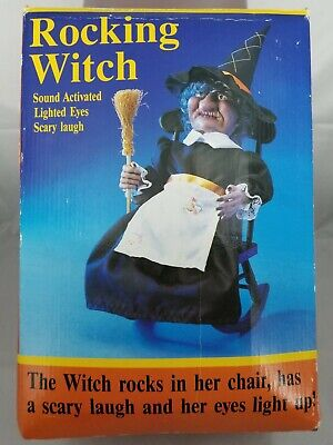 """Vintage 1991 16"""" Animated Rocking Halloween Witch, Light up eyes & Scary Laugh"""