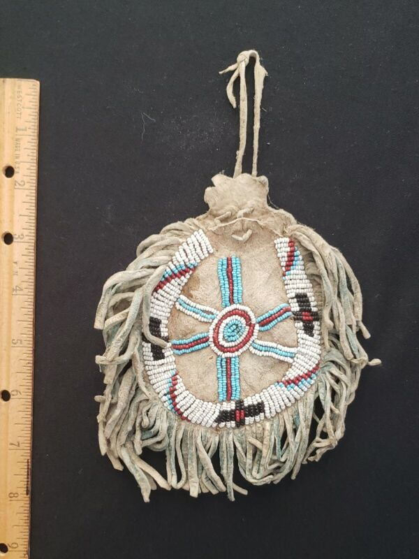Antique Apache  Indian Beaded pouch  with Fringe, Circ: 1890