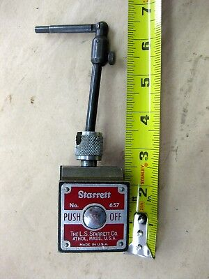 Starrett Push Button Magnetic Indicator Base Locking Swivel Holder No. 657 Usa