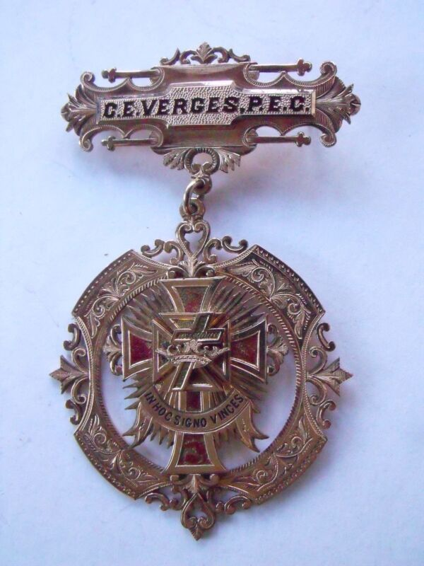 RARE 1901 SOLID GOLD KNIGHTS TEMPLAR MEDAL MARIETTA COMMANDERY P.E.C. VERGES