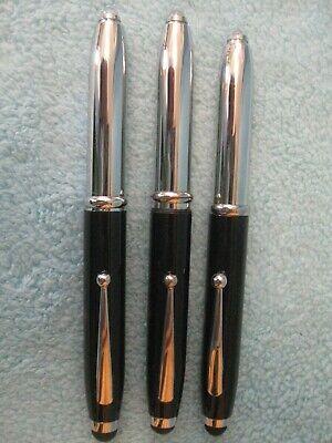 Set 3 HILTON GRAND VACATIONS Souvenir Pens w/ Built-in Flashlight; Black/Silver