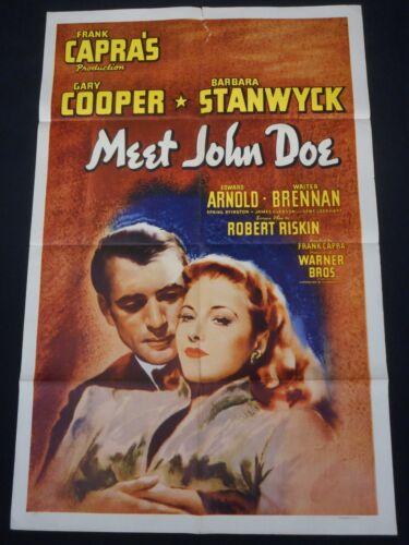 MEET JOHN DOE R-1946 * FRANK CAPRA * GARY COOPER * BARBARA STANWYCK * ONE SHEET!