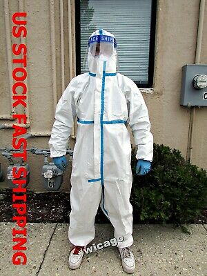 Stitching Sealed Protective Coverall Suit Size M Safety Gown Hood In Illinois