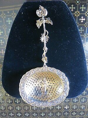 Antique Large Cast Sterling Silver w/ Gold Wash Tea Strainer Rare Size