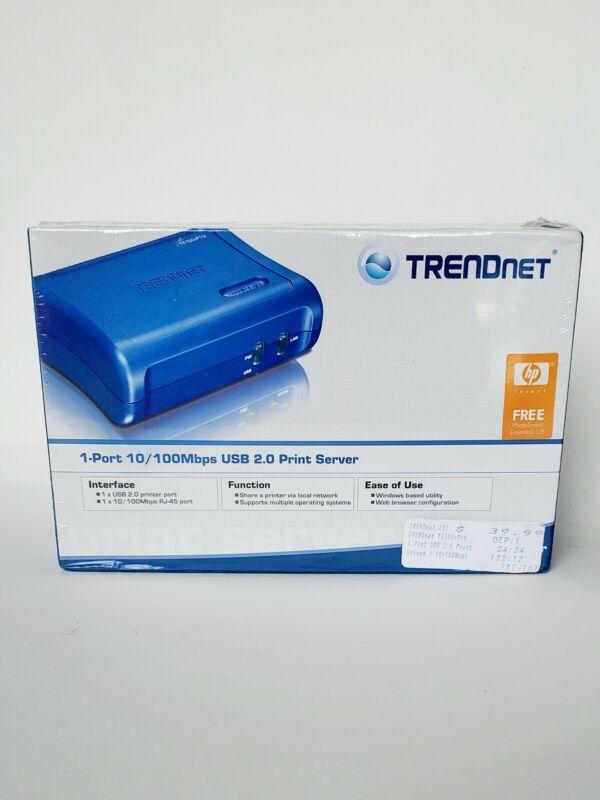 TRENDnet TE100-P1U 10/100 to USB 1-Port Print Server unused Sealed Blue Cd