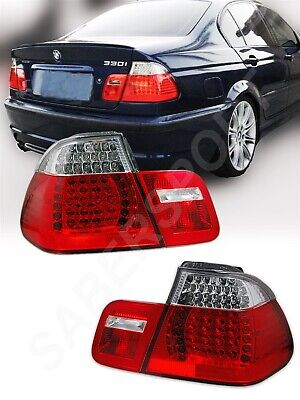 4dr Red Clear Led - Red Clear LED Taillights for 99-01 BMW E46 3-Series 4dr Sedan 323i 325i 328i
