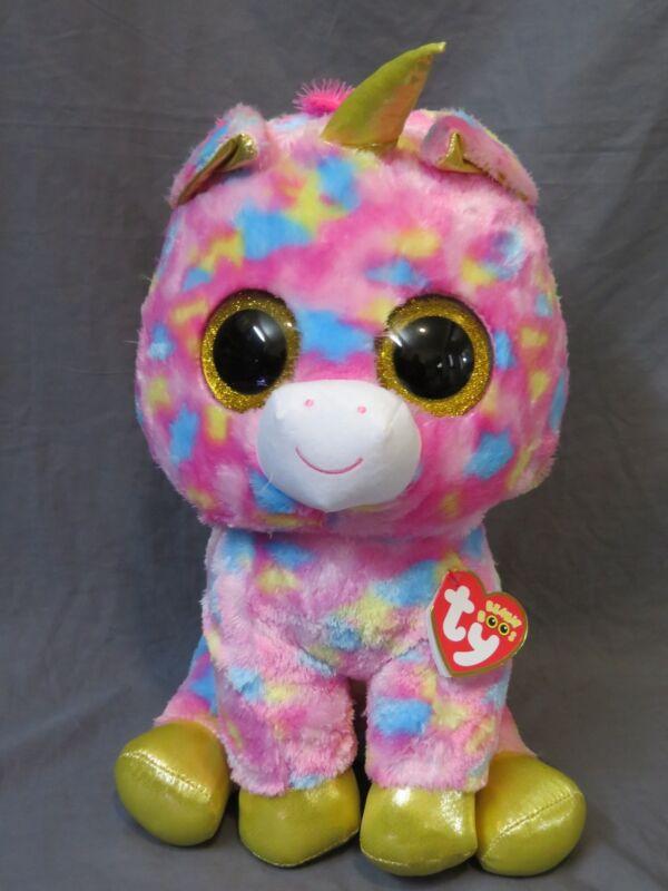 New JUMBO TY Fantasia Rainbow Unicorn Beanie Boo Large 17