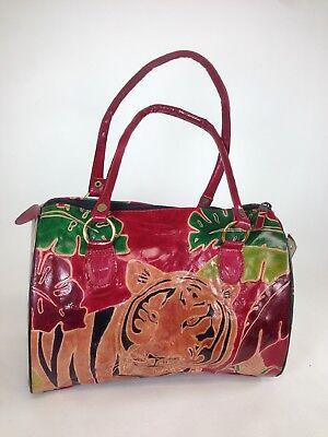 Shantiniketan Tiger print hand painted Sheepskin leather handbag Doctor Style Tiger Print Handbag