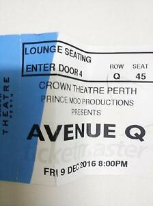 Avenue Q theater tickets x2 Huntingdale Gosnells Area Preview