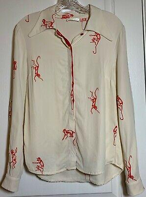 Stine Goya size M Button down shirt blouse monkey print Viscose cream/red EUC