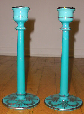 Beautiful antique opaline glass candlesticks sterling silver overlay decoration