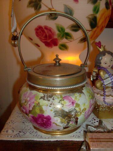 Antique Porcelain China Lidded Bisquit Jar