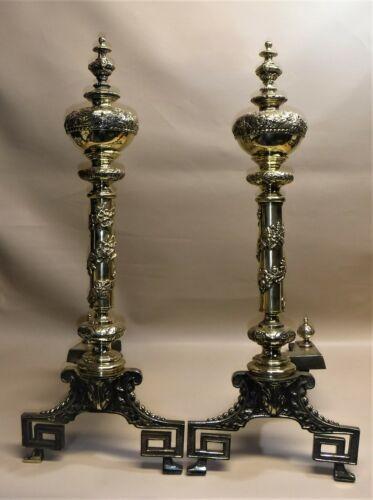 Victorian Era ~ Brass Andirons ~ Stunning Craftsmanship