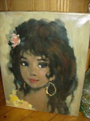 "Mädchenportrait Ölgemälde signiert ""Maleter"" - Impressionist - vintage 40er/60er"