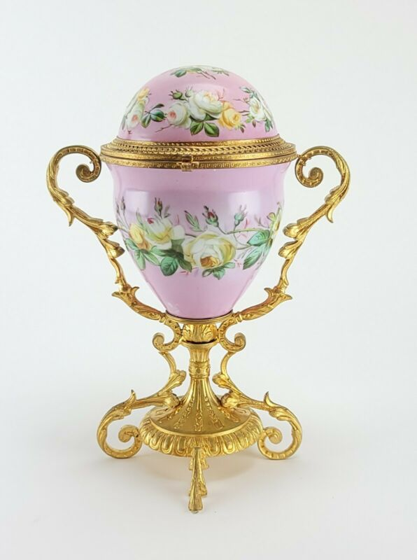 Antique French Sevres Porcelain Box Egg Style Gilt Bronze