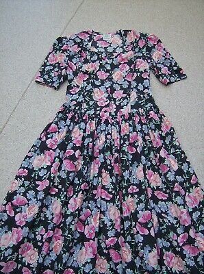 Vintage Laura Ashley Cotton Lawn Tea Dress  UK 14(EU  40 USA  12)