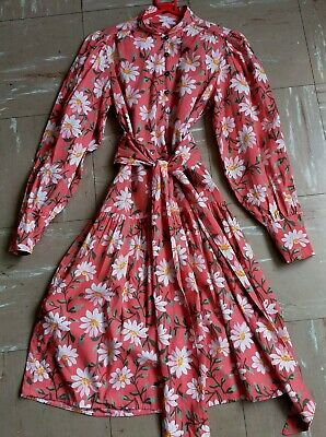Vintage Laura Ashley Made In Carno Wales 100% Cotton Floral Prairie Dress 14 M