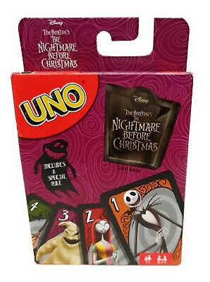 The Nightmare Before Christmas UNO Card Game Mattel Games Disney Tim Burton - Disney Movies Halloween 2017