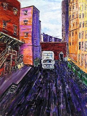Original OILPainting Arthur Robins NYC Street Alley Truck Cityscape Buildings NR